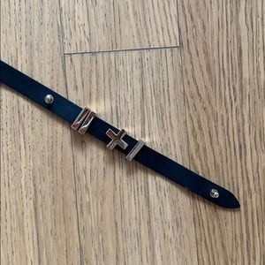 Dylan Kain authentic leather black skinny belt
